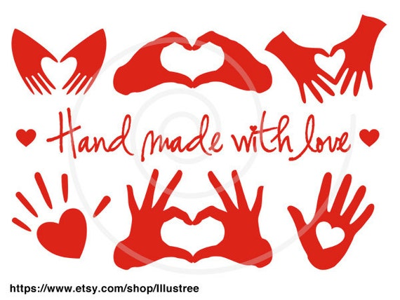 Hand made with love red heart handmade digital clip art