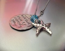 Footprints in the Sand poem... Hand stamped pendant with starfish charm and wire wrapped bead... Stainless steel chain