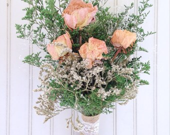 Peach peonies - dried flowers - wheat - bridesmaid bouquets - German Statice - country - wedding party - wedding flowers - rustic bouquet -