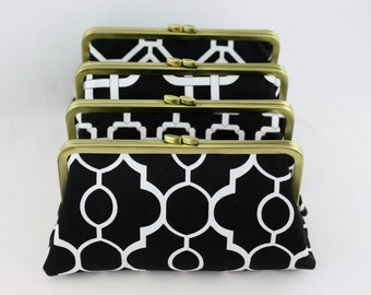Black and White Wedding Clutches / Black Bridesmaids Clutches / Design Your Own for Wedding Party Gift - Set of 4