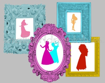Disney Princess Silhouettes Wall Art WITHOUT song titles 12 8x10 digital files or printed
