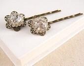 Rhinestone Hair Pins, Bridal Hair Pin Set, Shabby Chic Wedding, Vintage Style Hair Pins, Hair Accessories - Rhinestone Flower Hair Pin Set