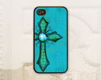 Turquoise Cross cell phone case iPhone 4 4S 5 5s 5C 6 6+ Plus, Samsung Galaxy s3 s4 s5 s6, Aqua teal Christian phone case feminine C2785
