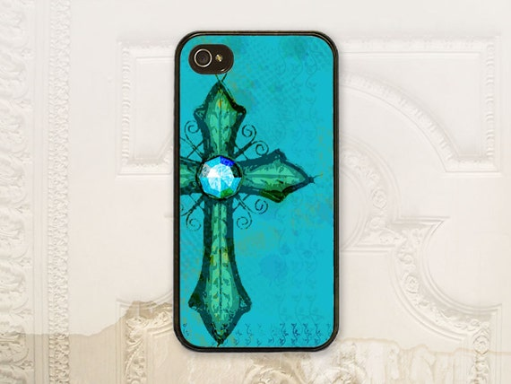 Turquoise Cross cell phone case  iPhone 4 4s 5 5s 5c 6 6+ plus Samsung Galaxy s3 s4 s5 Aqua teal Christian phone case feminine C2785