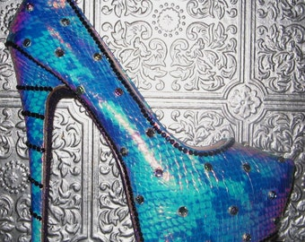 hologram snake platform stilettos with crystal rhinestones and glittered soles