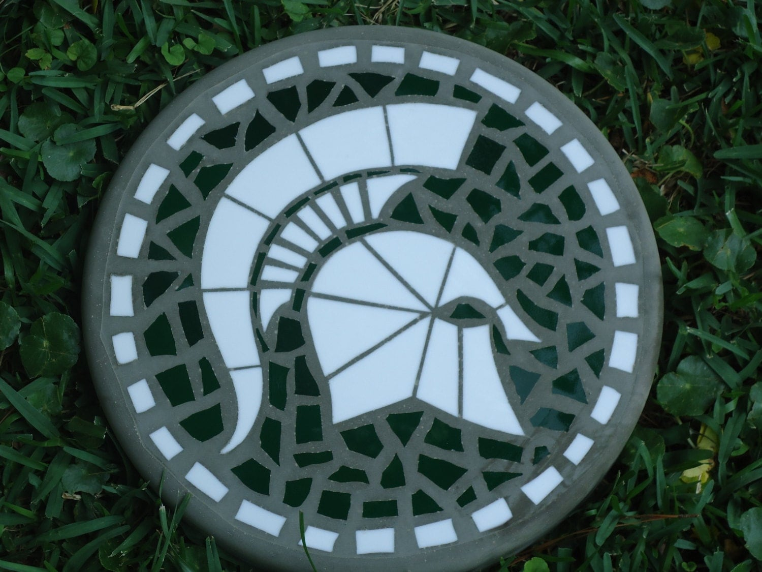 sparty handmade stained glass and concrete stepping stone