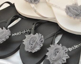 SALE!! Custom WEDDING Flip Flops BRIDESMAID Flip Flops Bride Flip Flops, Personalized Flower Flip Flops, Bridesmaid Gifts, Beach Weddings