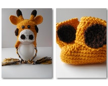 Giraffe Baby Hat and Booties - Set - Baby Hat and Bootie Set - Crochet - Handmade - Made to Order