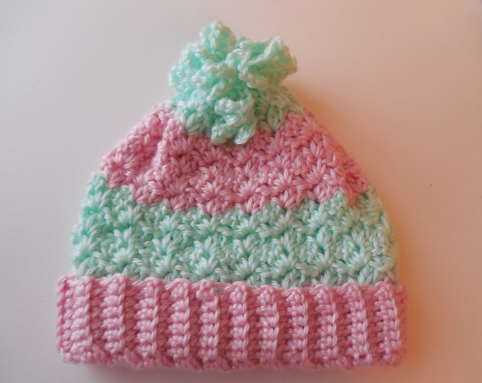 Baby Hat - Pink and Mint Green - Winter Hat - Handmade Crochet - Ready to Ship