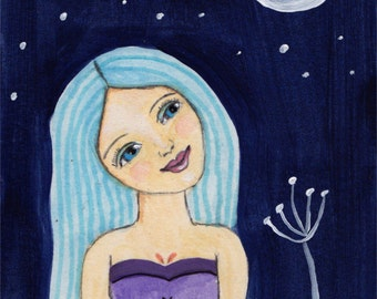 Original Painting, Whimsical Art, Girl With Moon, 4x6 Painting