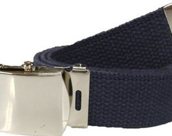 "Navy Blue Belt & Chrome Buckle 100% Cotton Military 54"" Long Web Belt"