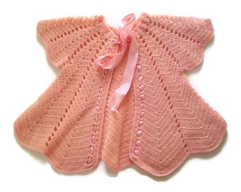 Vintage Baby Sweater, Crocheted, Pink, Baby Jacket, 1940's, Handmade, Vintage Baby, Wool, Satin Ribbon, Baby Clothing, Shower Gift-Hand Knit