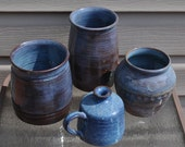 Hand Thrown Set of Blue and Earth Tone Brown Pottery
