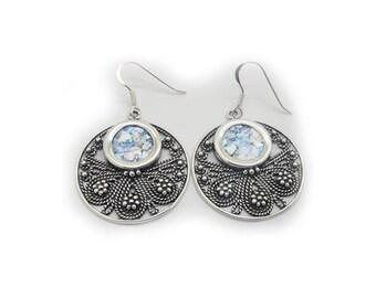 Dangle Earrings, Chandelier 925 Sterling Silver Earrings, Ancient Roman Glass Earrings, Filigree Design, Unique Jewelry