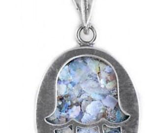 Gentle 925 Sterling Silver Pendant, Ancient Roman Glass Pendant, Hamsa Pendant, Judaica, Unique Jewelry