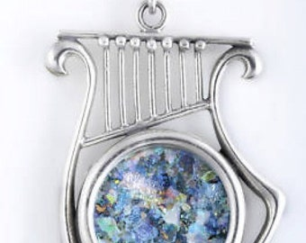 Beautiful 925 Sterling Silver Pendant, Ancient Roman Glass Pendant, Harp, Roman Glass Jewelry