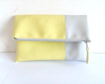 Leather clutch purse, lemon yellow clutch, light grey, Yellow lemon zets spring clutch, colorblock leather clutch,