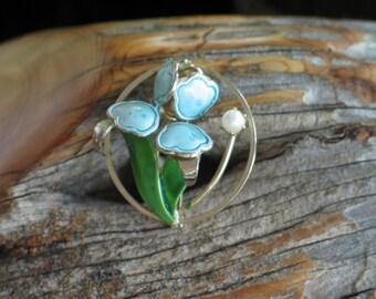Enamel Brooch, Enamel Jewelry, Vintage Brooch, Tulip Brooch, Enamel & Gold-tone Circle Tulip Brooch/Pin