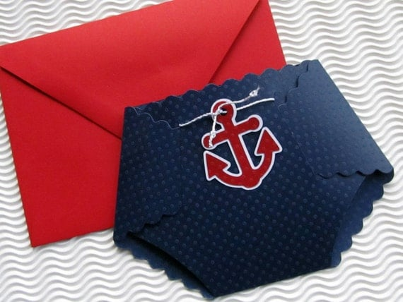 nautical themed diaper shaped baby shower invitation by studiob, Baby shower