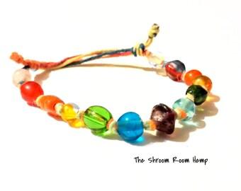 SALE // Glass Adjusble Rainbow Chakra and Earth Elements Glass Beaded Hemp Bracelet