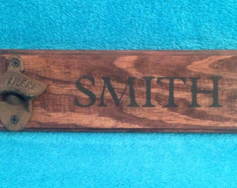 Personalized Rustic wooden bottle opener beer cast iron gift groomsman, father's day