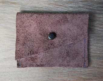 Small Brown Leather Wallet with Vintage Button