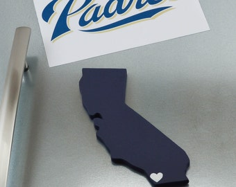 "San Diego Padres  ""State Heart"" Magnet, handcrafted wood with official team colors"