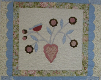 Blue Birds and Flowers Quilted Wall Hanging Blue Birds and Flowers Quilt
