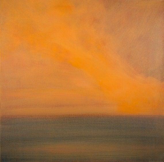 24x24 Large Canvas Minimalist Painting Orange Sunset Art