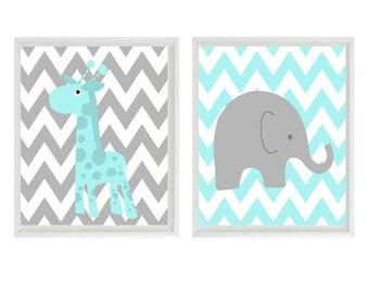 Nursery Art - Elephant and Giraffe - Chevron Aqua Gray - Baby Boy Room Safari Modern Baby Playroom- Wall Art Home Decor Set   Prints