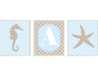 Starfish Seahorse Nursery Prints - Baby Blue Tan - Personalize Initial - Quatrefoil - Sea Creature Nursery - Wall Art Home Decor  Prints