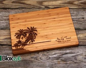 Engraved Cutting Board w/ Palm Tree, Island Design | Personalized Wedding Gift | Custom Cutting Board, Wedding Gifts | Destination Weddings