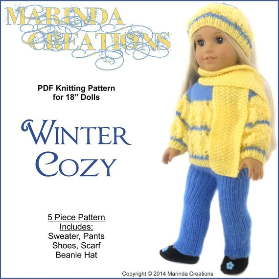 PDF Sewing Pattern - Winter Cozy Sweater Set -  for American Girl Doll and other 18'' Dolls