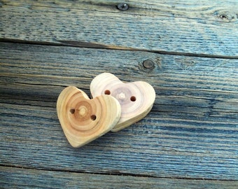 Wood Buttons - 3 Handmade Wood Heart Buttons-3 Heart  White Tree Branch Buttons - 1 3/5 inches diameter.For handbags,totes,knitting,crochet.