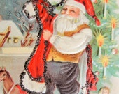 Antique Christmas Greeting Postcard Jolly Santa Mica Glitter Embellished Embossed Toys Highly Decorative Holiday Decor Not Used