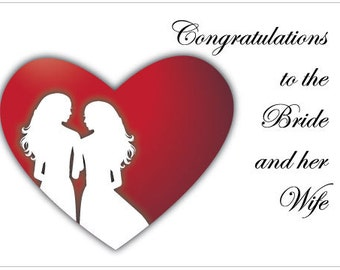 Lesbian Wedding Congratulation Card for the Bride and her Wife