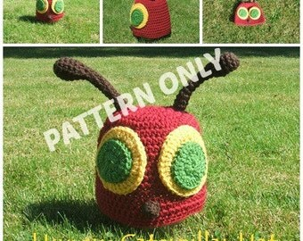 Hungry Caterpillar Crochet Hat PATTERN, Six Sizes, Instand Download