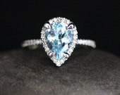 High End Aquamarine Engagement Ring in 14k White Gold with Aquamarine Pear 10x7mm and Diamond Halo