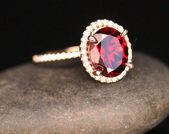 Crimson Red Garnet Engagement Ring January Birthstone Ring 14k Rose Gold with Garnet Oval 10x8mm and Diamonds