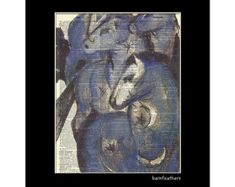 Herd of Horses Printed on an Old Dictionary Page - Book Page Art Print No. P288