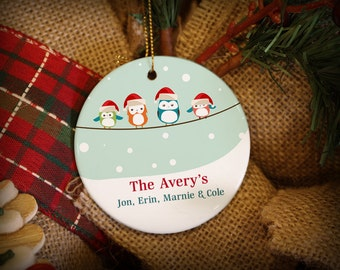 Customizable Christmas Ornament: Family of 4 Owls on a String