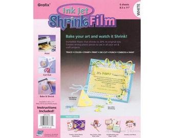 "White - Grafix Ink Jet Shrink Film - 8.5"" x 11"" - 6 Sheets - 246269"