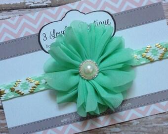 Aqua Green Baby Headband..Baby Girl Headband..Baby Headband..Newborn Headband..Headband..Toddler Headband..Infant Headband..Baby..Baby Girl