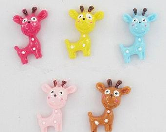 12pcs Mixed color Deer Kawaii  resin flatback cabochon