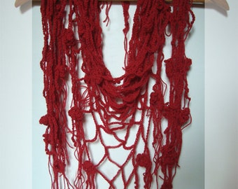 Crimson red crocheted fishnet scarf/ shawl