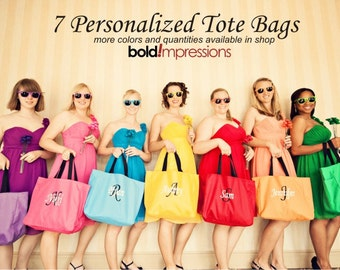 7 Bridesmaid Gift Monogrammed Personalized Tote Bag Wedding Party