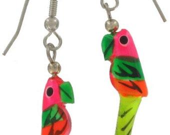 1980s Vintage Wood Neon Pink Parrot Dangle Earrings