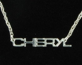 Cheryl Silver Tone Name Pendant Necklace Jewelry Vintage 1970s