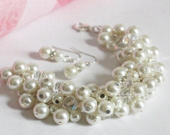 Ivory Cluster Bracelet, Ivory Chunky Bracelet, Bridesmaids Gift, Ivory Pearl Bracelet, Bridesmaids Cluster Bracelet, Ivory Bracelet Earrings