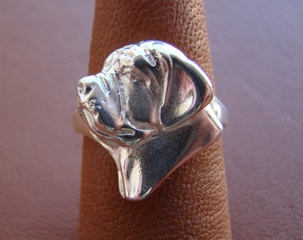 Small Sterling Silver Mastiff Head Study Ring